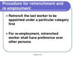 procedure for retrenchment and re employment