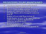registers to be maintained