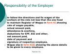responsibility of the employer