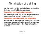 termination of training
