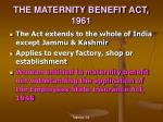 the maternity benefit act 1961