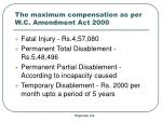 the maximum compensation as per w c amendment act 2000