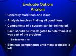 evaluate options analysis