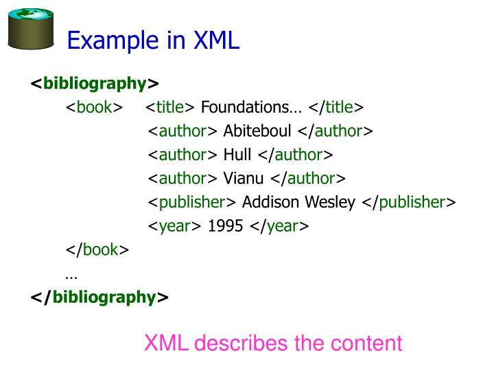 Example in XML