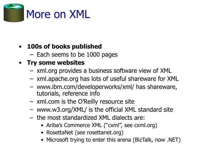 More on XML