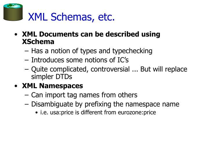 XML Schemas, etc.