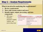 step 1 analyze requirements