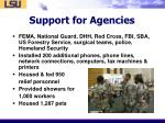 support for agencies