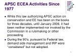 apsc ecea activities since 1977