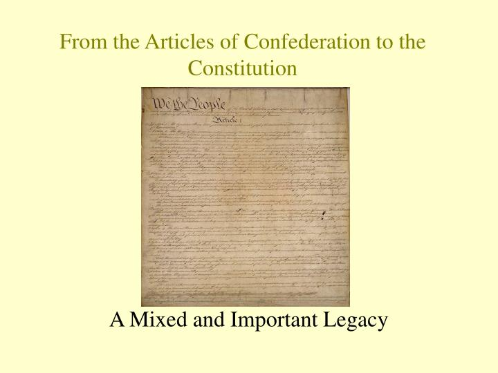 from the articles of confederation to the constitution n.