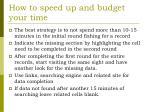 how to speed up and budget your time