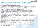 the architecture of the new nhs from 1997