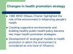 changes in health promotion strategy