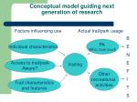 conceptual model guiding next generation of research