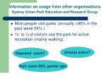 information on usage from other organisations sydney urban park education and research group