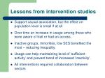 lessons from intervention studies