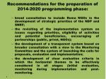 recommendations for the preparation of 2014 2020 programming phase