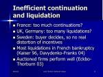 inefficient continuation and liquidation