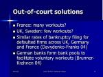 out of court solutions