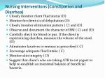 nursing interventions constipation and diarrhea