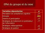 effet du groupe et du sexe