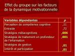 effet du groupe sur les facteurs de la dynamique motivationnelle