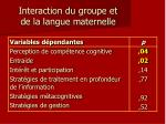 interaction du groupe et de la langue maternelle