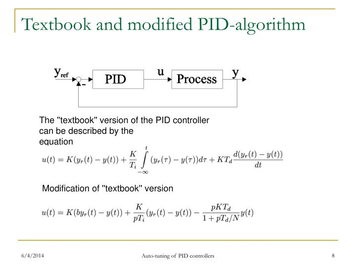 Textbook and modified PID-algorithm