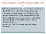 characteristics of the post industrial society