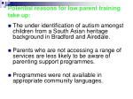 potential reasons for low parent training take up