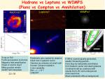 hadrons vs leptons vs wimps pions vs compton vs annihilation