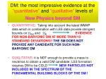 dm the most impressive evidence at the quantitative and qualitative levels of new physics beyond sm
