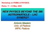 new physics beyond the sm astroparticle lhc synergy