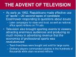 the advent of television1