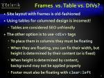 frames vs table vs divs