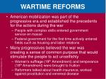 wartime reforms