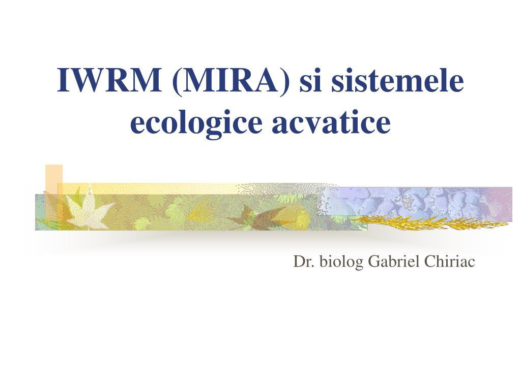 iwrm mira si sistemele ecologice acvatice l.