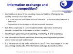 information exchange and competition