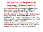 growth of the english iron industry 1500 to 1640 5