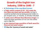 growth of the english iron industry 1500 to 1640 7