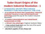 tudor stuart origins of the modern industrial revolution 1