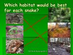 which habitat would be best for each snake