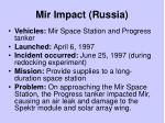 mir impact russia