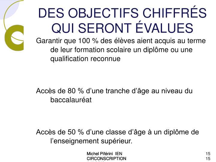 DES OBJECTIFS CHIFFRÉS QUI SERONT ÉVALUES