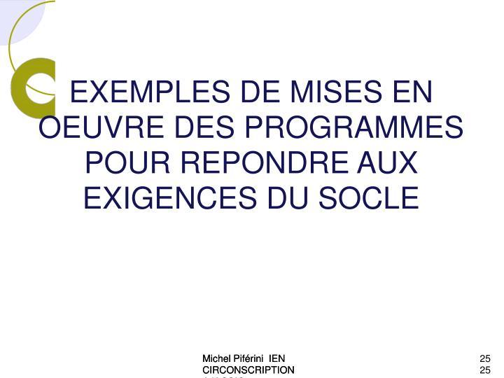 EXEMPLES DE MISES EN OEUVRE DES PROGRAMMES  POUR REPONDRE AUX EXIGENCES DU SOCLE