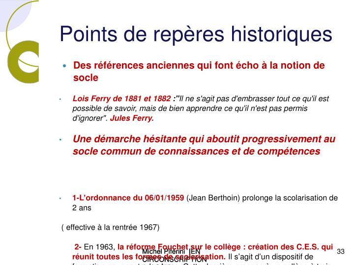 Points de rep res historiques