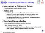 speaker controlling presentation via ipaq