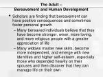 the adult bereavement and human development
