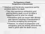 the experience of death perspectives on bereavement1