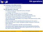 ra operations
